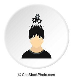 Male avatar and gear icon, flat style - Male avatar and gear...