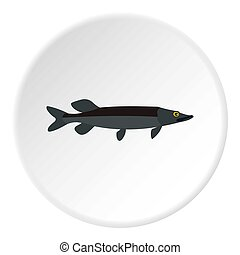 Pike icon, flat style - Pike fish icon. Flat illustration of...