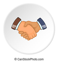Handshake icon, cartoon style - Handshake icon. Cartoon...