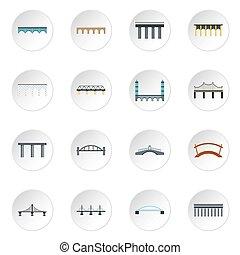 Bridge icons set, flat style - Bridge icons set. Flat...