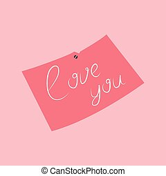 Vector illustration message with pink love inscription