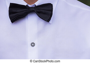 Black silk bow tie and white cotton dress shirt