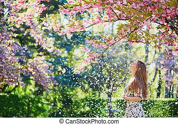 jardín, flor, Cereza, primavera, niña, día