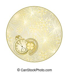 Button  circle New Year fireworks  with watches and lucky symbols   vector.eps
