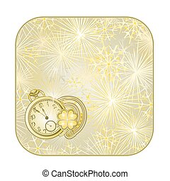 Button  square New Year fireworks  with watches and lucky symbols  vector.eps
