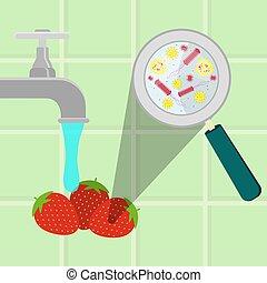 Washing contaminated strawberries - Contaminated...
