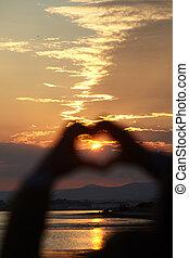 Coração, FORMA, silueta, pôr do sol