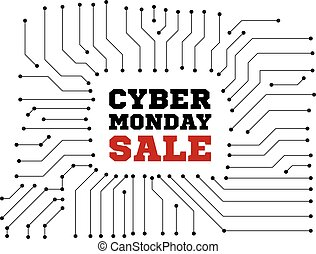 Cyber monday sale. Vector illustration on white background