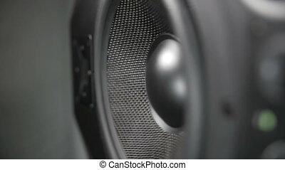 Vibrating Working Speaker - Closeup of a black vibrating...
