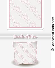 Pillow Pink Flowers On Gray - Hand drawn pillow with...