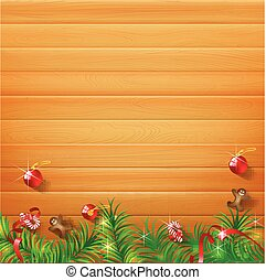 Abstract background realistic nature wood with red christmas ball and ribbon vector illustration eps10 005