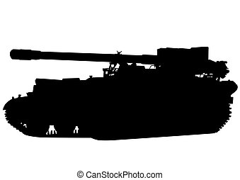 Tank on white - Big military tank on white background