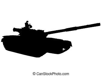 Tank on white background - Big military tank on white...