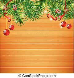 Abstract background realistic nature wood with red christmas ball and ribbon vector illustration eps10 006