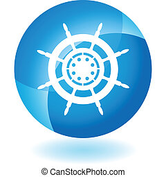 Ship Steering Wheel web button isolated on a background
