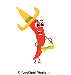 Smiling chili pepper in Mexican sombrero playing bongo drums
