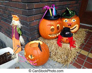 Halloween orange pumpkins