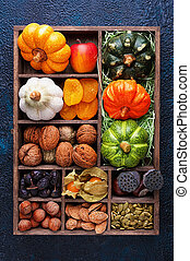 Cropping set top view - Set of autumn vegetables, fruits,...