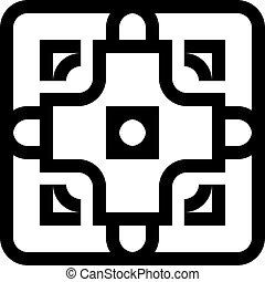 quadrado, arredondado, cerca, abstratos, elemento, arabesco