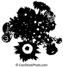 bouquet stencil - Flowers bouquet stencil silhouette,...