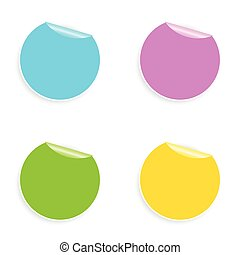 Set of multicolored round stickers