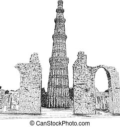 Qutub Minar Vector Illustration - New Delhi, India Unesco...