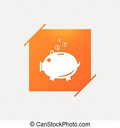 Piggy bank sign icon. Moneybox symbol. Orange square label...