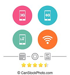 Mobile telecommunications icons. 3G, 4G and LTE. - Mobile...