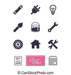 Repair, construction icons. Hammer, wrench tool. - Repair,...