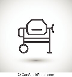 Concrete mixer line icon isolated on grey. Vector...