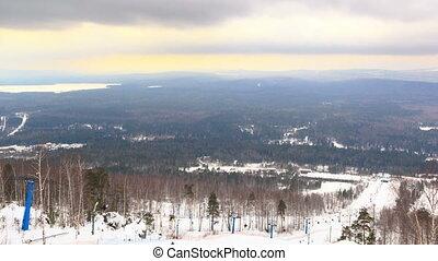 Panarama ski slope. Time Lapse. 4K