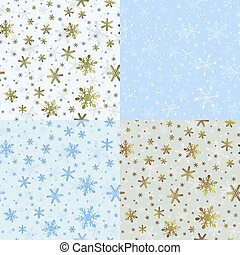 Set of Christmas Seamless Patterns with Snowflakes. New Year...