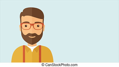 Handsome smiling happy man. - Young caucasian hipster man...