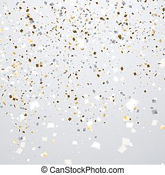 Clean holiday background with flying golden and white...