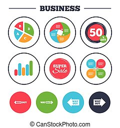 Way out icons. Left and right arrows symbols. - Business pie...