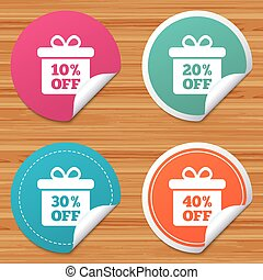 Sale gift box tag icons. Discount symbols. - Round stickers...