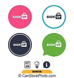 Sign up sign icon. Registration symbol. Lock icon. Report...