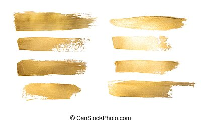 Collection of golden paint strokes to make a background for...