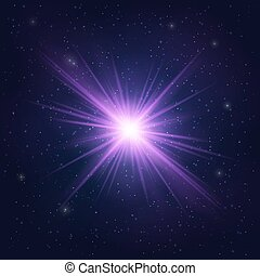 Abstract Shimmering Realistic Violet star - Cosmic Object....