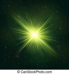 Glowing Realistic Green star - Stylized Object. Cosmic...