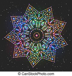 New Year Decoration Shining Colorful Star. Christmas...