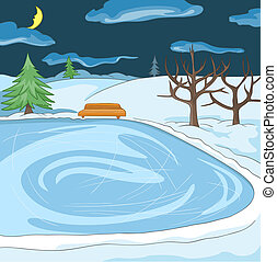 Cartoon background of outdoor skating rink. - Hand drawn...