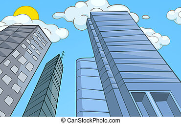 Cartoon background of modern city. - Hand drawn cartoon of...