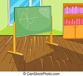 Cartoon background of schoolroom. - Hand drawn cartoon of...