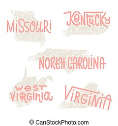 Missouri, Kentucky, North Carolina, West Virginia, Virginia USA state outline art with custom lettering for prints and crafts. United states of America wall art of individual states
