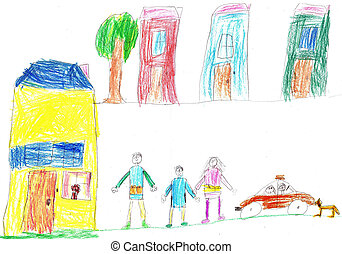 Child's drawing a happy family and car - Child's drawing a...