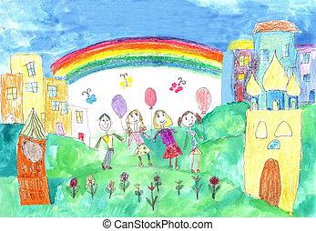 famiglia, bambino, bambini, due, passeggiata, disegno, Felice