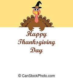 Turkey congratulatory banner on Thanksgiving Day vector
