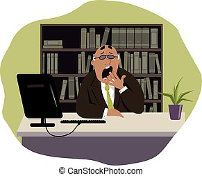 Boring job - Yawning man sitting at his desk in the office,...