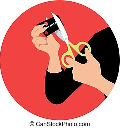 Cutting a credit card - Hands of a person cutting a credit...